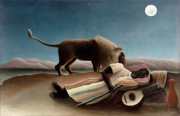 Sleeping Art - The Sleeping Gypsy La Bohemienne endormie Henri Rousseau Post Impressionism Naive Primitivism
